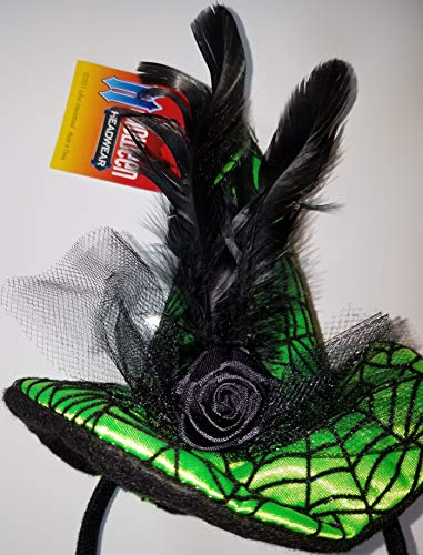 Satin Spider Witch Hat - Loftus Witch Hat Headband Green Satin Mini w. Spiderweb Black Mesh and Rose1 per Order