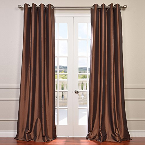 Half Price Drapes PTCH-BO209-84-GR Grommet Blackout Faux Silk Taffeta Curtain, Copper Brown Copper Window
