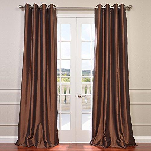 Half Price Drapes PTCH-BO209-120-GR Grommet Blackout Faux Silk Taffeta Curtain, Copper Brown