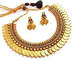 YouBella Traditional Red and Green Temple coin Necklace Set