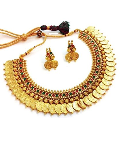 buy youbella traditional red and green temple coin necklace set jewellery set with earrings for women online at low prices in india amazon jewellery