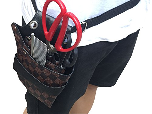 Professional Hair Dressers Scissors Holder Holster Barber Salon Shears Leather Pouch Tools Bag with Waist Shoulder Belt JDB03 (Checked) by QEES (Image #3)