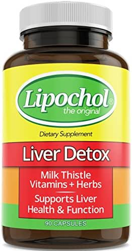 LIPOCHOL Liver Cleanser 30-Day Detox Milk Thistle Silymarin Weight Loss Skin Health Liver Health Supplement Capsules with Herbs, Extracts, and Vitamins for Natural Cleanse
