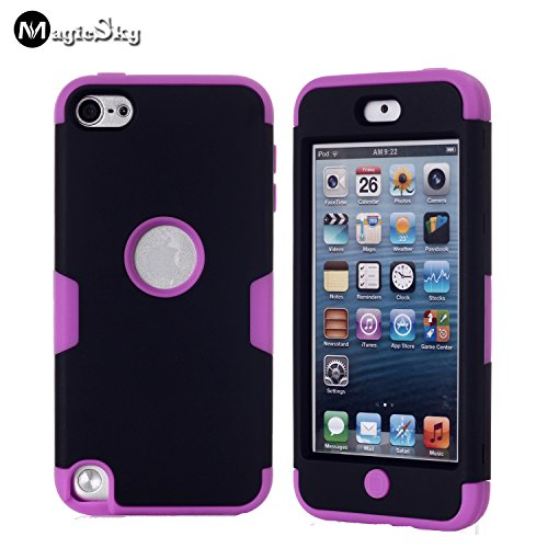 MagicSky Plastic + Silicone Tuff Dual Layer Hybrid Armored Case for Apple iPod Touch 5 5th Generation - 1 Pack - Retail Packaging - Purple/Black