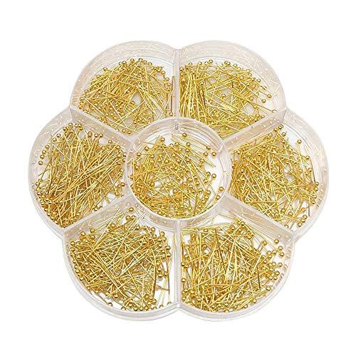 Chenkou Craft Assorted 700pcs Mix Size Brass Ball Head Pins for Jewelry Making (Gold, Mix)