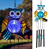 Solpex Solar Owl Wind Chimes Outdoor,36.6' LED Light Chime with 4 Hollow Aluminium Tubes for Home,Patio, Lawn and Yard Décor.