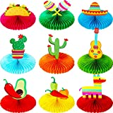 9 Pieces Fiesta Honeycomb Table Centerpiece 8 Inches Colorful Hanging Paper Fans Cinco De Mayo Table Party Decorations Mexican Theme Centerpiece