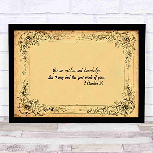 cupGTR :) Bible Wall Art-Perfect Christian Gift - with Frame - Size14x13in -Chronicles 110 Give Me Wisdom Knowledge Lead Your Great People