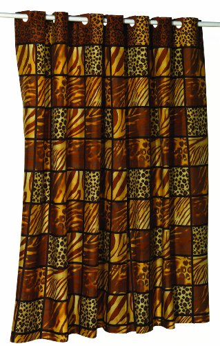 - Carnation Home Fashions EZ On No Hooks Needed! 108 by 75-Inch Fabric Shower Curtain, X-Wide, Wild Encounters, Brown/Earthtones