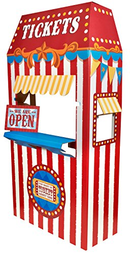 Carnival Games Party Supplies Room Decoration - Ticket Booth Cardboard Stand Playhouse -