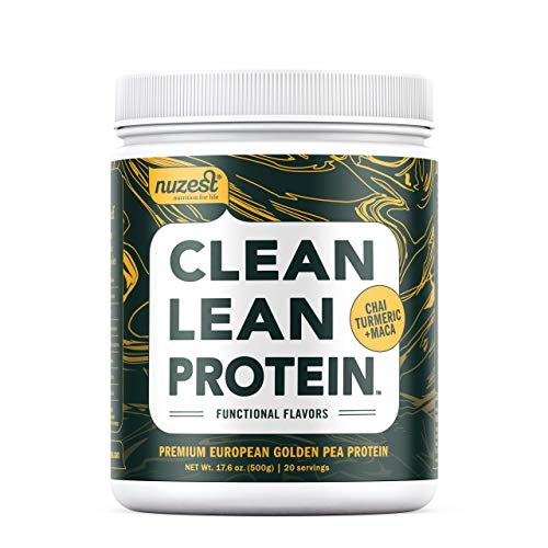 Nuzest Clean Lean Protein Functionals - Premium Vegan Protein Powder, European Golden Pea Protein, Dairy Free, Gluten Free, GMO Free, Naturally Sweetened, Chai, Turmeric & Maca, 17.6 oz