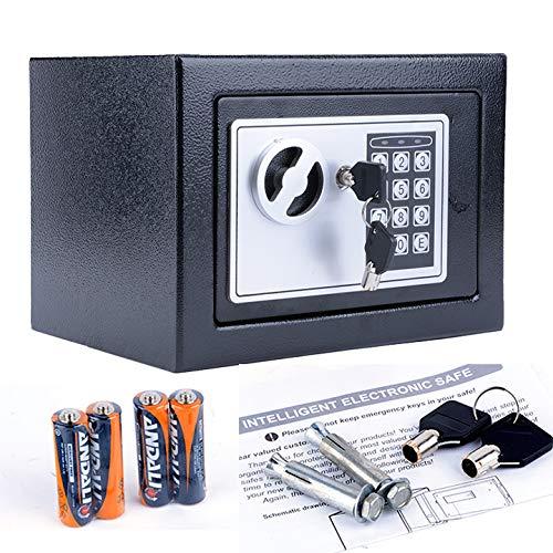 miageek US Stockセキュリティ金庫8.9 X 6.9 X 6.3インチセーフボックスホームオフィスホテルデジタル電子壁キャビネット隠し金庫キーロックのジュエリーCashガンドキュメントスチール合金ドロップセーフ B07DVY35N6 ブラック1