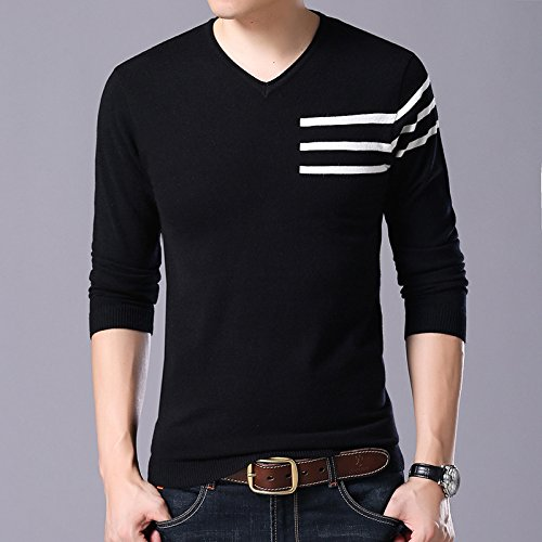 ZHUDJ Herren Pullover_Herbst Mens V-Neck Knit Shirt Halb Streifen