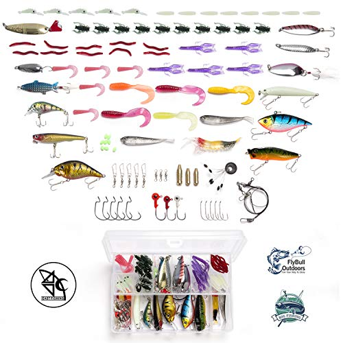 Fishing Bait Set Fishing Lures Kit Tackle Including Crankbaits, Spinnerbaits, Plastic Worms, Jigs, Topwater Lures, Tackle Box and More Fishing Gear Lures Kit Set(101Pcs Fishing Lure)