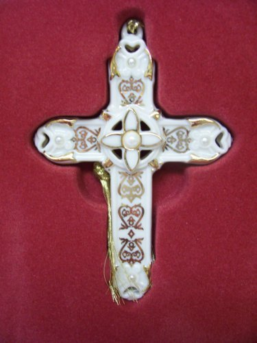 Pearl Ornament Cross (Lenox Florentine and Pearl Cross Christmas Tree Ornament)