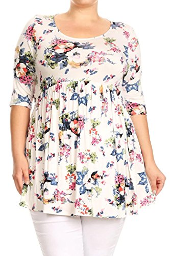 Baby Doll Kimono Top (Women's Plus Size Floral Printed High Waist Tunic Blouse Mini Dress Top MADE IN USA (2X, White))