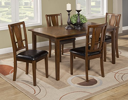 Alpine Furniture 1426 Del Rey 5 Piece Dining Set, Brown - Collection 5 Piece Dining Room