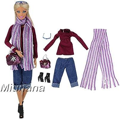78e0db67eec Miunana 1x Ropa con Bufanda Bolso Pantalones Zapatos Camiseta de Manga  Larga Gafas de Sol Accesorios como Regalo para Muñeca Barbie Doll