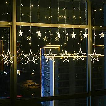 Luces De Cadena Led Cortina Ventana Jardín Exterior Cuento De Hadas Luces Jardín De Verano Lámpara Decorativa Cadena Luces Luces Decoración Estrella Pentagonal Luces, Blanco Cálido: Amazon.es: Iluminación
