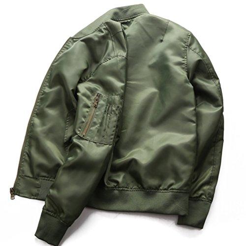 Verde Zip Yuandian Giacca Bomber Cappotti Stand Collare Giubbino E Aviatore Hem Ma1 Militare Elastici Stile Uomo Taglie Forti Autunno Primavera Blouson Casual Polsini rBRr6q