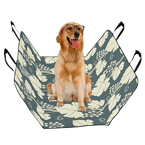 (JTMOVING Fashion Oxford Pet Car Seat Vineyard Ripe Grapes Natural Country Landscape Wine Green Brown Blue Waterproof Nonslip Canine Pet Dog Bed Hammock Convertible for Cars Trucks SUV )