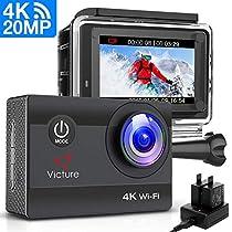 Victure Action Cam 20MP Ultra HD 4K Wi-Fi Impermeabile 40M Immersione Sott'Acqua 170° Grandangolare Camera con Caricabatteria/Kit Accessori Due 1050mAh Batterie