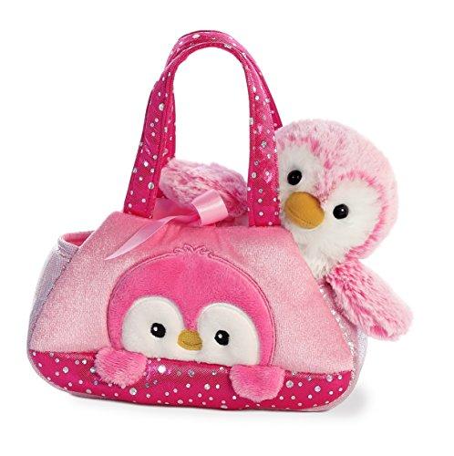 Aurora World Fancy Pals Peek-A-Boo Purse Pet Carrier Pom Pom Penguin, Pink