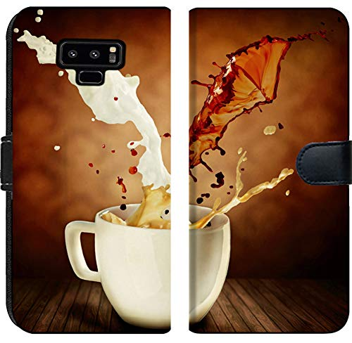 - Samsung Galaxy Note 9 Flip Fabric Wallet Case Image 23419406 Coffee with Milk Splashing Cup of Cappuccino or Latte