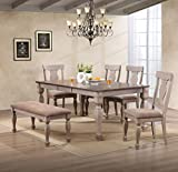 Kings Brand Almon 2-Tone Brown Wood 6-Piece Dining Room Set, Table, Bench & 4 Chairs Larger Image