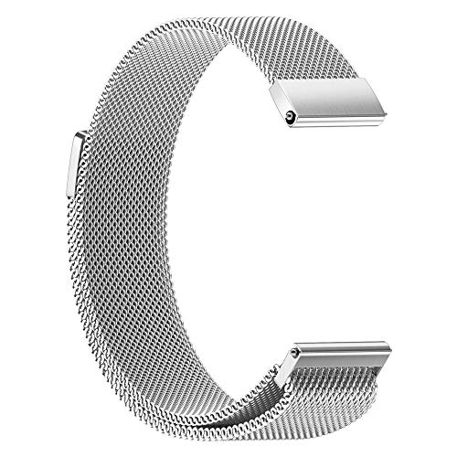 Price comparison product image Hatoys Milanese Magnetic Loop Stainless Steel Watch Band Strap for Garmin vivoactive 3 (Silver)