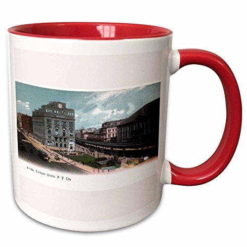 3dRose BLN Vintage New York City Collection - Cooper Union Station New York City Vintage Postcard Reproduction - 15oz Two-Tone Red Mug (mug_170678_10)