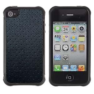 """Pulsar iFace Series Tpu silicona Carcasa Funda Case para Apple iPhone 4 / iPhone 4S , Negro del cuero del patrón de la textura Spots Gris"""""""