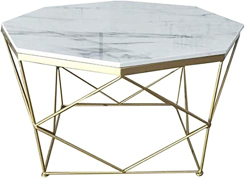 Amazon Com Mid Century End Table Octagon Coffee Table Faux Marble Top Stable Geometric Gold Base For Couch Desk White Colors Can Be Customized Furniture Decor