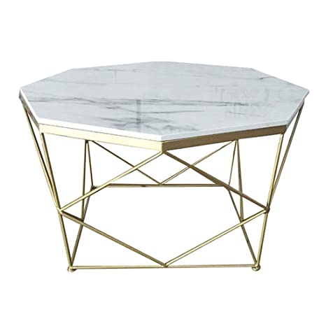 Mid Century End Table Octagon Coffee Table Faux Marble Top Stable