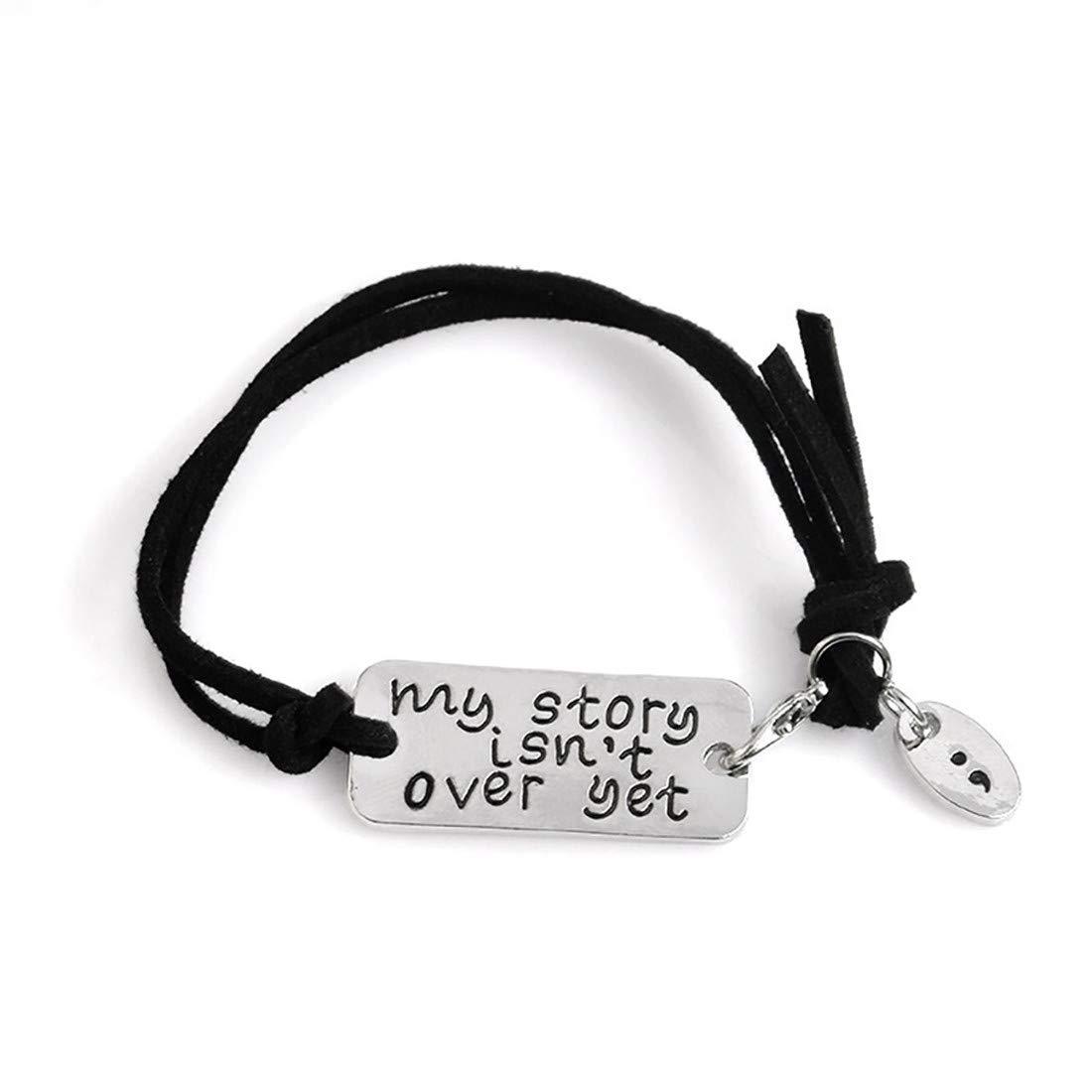 VWH My Story Isn't Over Yet Letters Bracelet Adjustable Suede Leather Wrap Bracelet