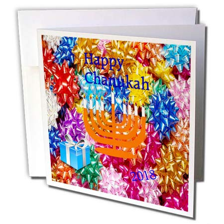 - 3dRose Chanukah - Image of Orange Menorah Sits On Gift Bows with Happy Chanukah - 6 Greeting Cards with envelopes (gc_290300_1)