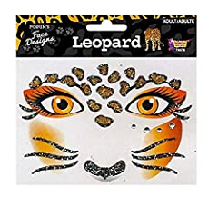 Glitter face designs is the perfect easy-to-apply decoration for any leopard costume.