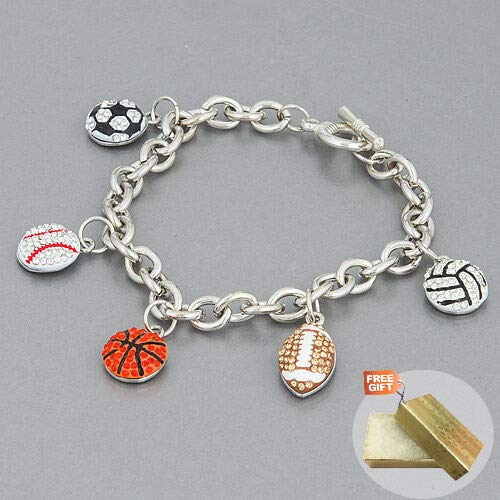 (Silver Chain Basketball Football Baseball Soccer Charms Stones Fashion Jewelry Bracelet For Women + Gold Cotton Filled Gift Box for Free)