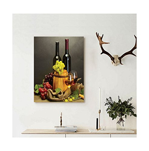 Liguo88 Custom canvas Winery Decor Barrel Bottles And Glasses Of Wine And Ripe Grapes On Wooden Table Decorative Picture Decor Multi