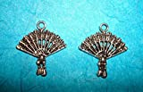 Pendant Hand Fan Charm Lot of 2 Southern Belle Geisha Charm Victorian Charm