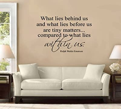 """What Lies Behind Us..."" Ralph Waldo Emerson Large Wall Decal Sticker Quote Home Decoration Decor"