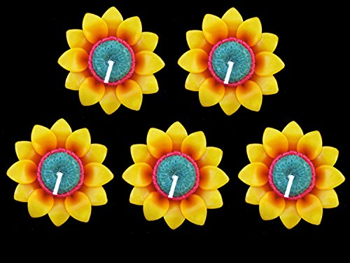 Aroma & More, 5 Pcs. Thai Relaxed Aroma Candle Sunflower Floating Candle Handmade
