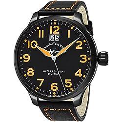 Zeno Men's 55MM Oversized Black Face Date Swiss Quartz Mens Black Leather Watch 6221-7003-BKA15