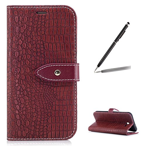 Trumpshop Smartphone Protective Case for Samsung Galaxy J7 Sky Pro (TracFone) SM-J727 [Wine Red] Crocodile Skin Pattern Premium PU Leather Flip Wallet Cover Bookstyle Stand Feature Shockproof