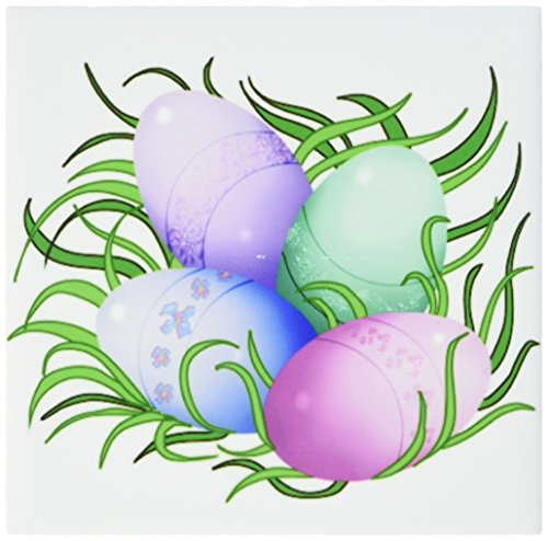 3dRose Dream Essence Designs a Group of Easter Eggs Nestled in The Green Grass Ceramic Tile Coaster ()