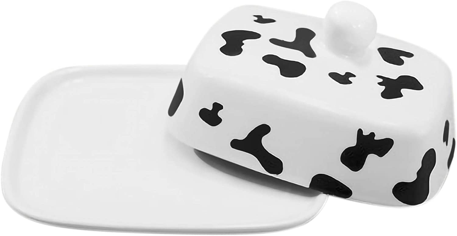 Cow Butter Dish with Lid   White Ceramic Cow Decor for Cow Print Lovers   LARGE - Fits Block of Butter or 2 Sticks   Perfect for Rustic Kitchens