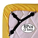 Best Bed Sheet Suspenders - 8pcs/2 sets Triangle Sheet Band Straps Suspenders Adjustable Review