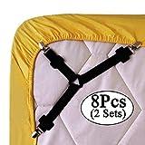 8pcs/2 sets Triangle Sheet Band Straps Suspenders Adjustable Fitted Bed Sheet Corner Holder