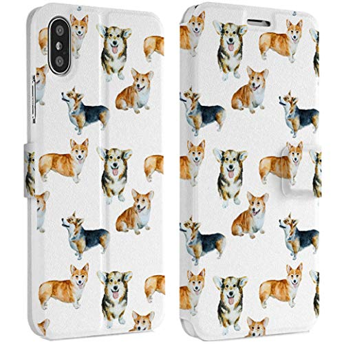 Wonder Wild Cute Corgi iPhone Wallet Case X/Xs Xs Max Xr 7/8 Plus 6/6s Plus Card Holder Accessories Smart Flip Hard Design Protection Cover Doggy Puppy Pet Sweet Man Best Friend Animals Pattern New