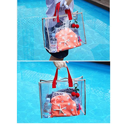Swimming Mixed Transparent Travel Gray amp;Red Carry Fashion Womens Shopping Summer X Bag PVC charmer Hand Bags Clear Tote Beach Color aS7IqSgRw